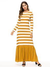 7b05b5d5245 2019 Casual Maxi Dress Stripe Cotton Middle East Abaya Shirt Loose Style Muslim  Robe Moroccan Burka Kimono Kaftan Islamic Arab Dubai 7343