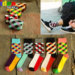 Wholesale Cool Dresses For Women - Men&Women Summer Rainbow Socks Cool Colorful Strip Long Geometry Fun Socks Men's Suits Dress Socks for Wedding meias calcetines