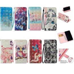 Wholesale 3d Sexy Cartoon Girls - 3D Wallet Case For Iphone X 8 7 Plus 6 6s SE 5 Galaxy S9 S8 Leather Butterfly Owl Lace Sexy Lady Dreamcatcher Girl Flip Cover+Card Cartoon