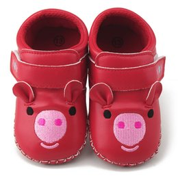 Wholesale infant pig - Baby Shoes PU Toddler Baby Girls Cartoon Pig Embroidery Soft Shoes Infant Anti-slip First Walker Crib