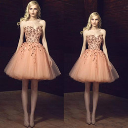 Wholesale Navy Blue Little Girls Dress - Cute Champagne Beads Appliques Tulle Homecoming Dresses 2018 Sweetheart Short Sweet 16 Girl Formal Party Gowns Little Ball Gown Prom Dresses