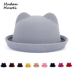 942872831fa44 cat hat brim Coupons - Fashion solid wool felt Fedoras for Women Children  Vintage Cat Ear
