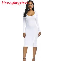 U neck Long Sleeve Bodycon Low Cut Sexy Club Dress Women White Black Mini Party  Dress for women 4893c5843