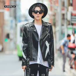 Wholesale Leather Hip Hop Winter Jackets - Wholesale- Mens Leather Jacket High Street Fashion Printing Hip Hop Casual Coat Male Motorcycle PU Leather Jacket Autumn Winter Overcoat