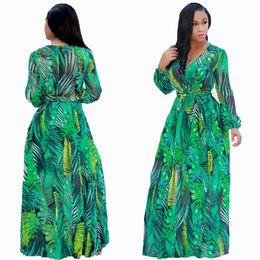 robe bohème maxi en mousseline à manches longues Promotion Impression Floral Mousseline Robes Maxi