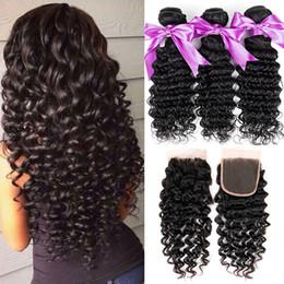 Wholesale Accessories Curly Hair - 7A Brazilian Deep Wave Curly Hair 3 Bundles with Closure Free Middle 3 Part Unprocessed Virgin Hair Bundle Deals Wholesale Human Hair Weave