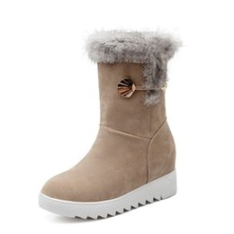 Wholesale Wedge Creepers - Plus Size 34-42 Height Increasing Women Snow Boots Platform Woman Creepers Slip On Ankle Boots Fashion Casual Winter warm Shoes