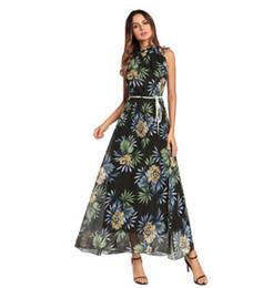 Wholesale women wearing cute dresses - Women CHiffon Long Bohemian Dresses Casual Loose Floral Printed Summer Cute Dress Wear Ties Design Slim Fit Clothes