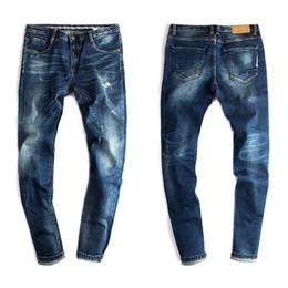 Wholesale Dark Blue Skinny Jeans - Wholesale- Mens Skinny Jeans Men 2016 Runway Distressed Slim Fit Elastic Denim Biker Jeans Pants Washed Dark Blue Jeans For Men 079