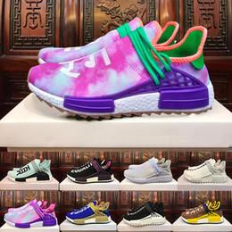 Wholesale Human Trainer - 2018 yellow HUMAN RACE Pharrell x HuTrail Equality NERD cream men women sports sneaker Holi Canvas SPORT athletic running Shoe trainer shoes