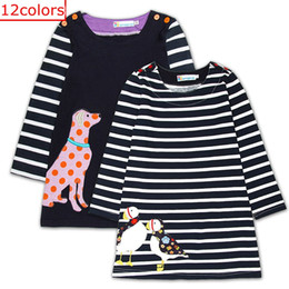 Wholesale Designer Dresses Kids Girls - Easter Day Kids Animal Fox Bunny Dress Appliques Clothing Girl Cute Long Sleeve Dress 100% Cotton Striped Designer Dress for Kids 12Colors