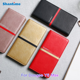 Wholesale leather back books - Book Case For Doogee Y6 Max Luxury Vintage Pu Leather Wallet Flip Case For Doogee Y6 Max Business Case Soft Silicons Back Cover