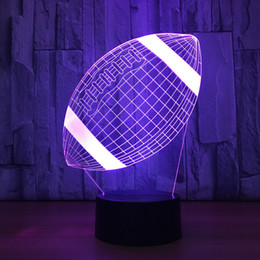Wholesale football angels - Rugby Football 3D Optical Illusion Lamp Night Light DC 5V USB Charging AA Battery Wholesale Dropshipping Free Shipping