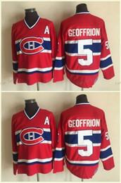 Camisetas canadienses baratos online-Camisetas canadienses de Montreal # 5 BERNARD GEOFFRION Jersey rojo de hockey de 1959 CCM