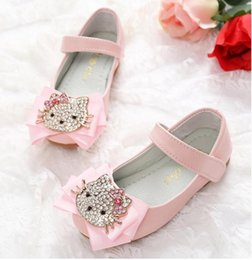 Wholesale Korean Kids Shoes - Girl Princess Shose Girls Shoes Spring Bowknot Cat Soft-soled Children Shoeses Korean Cute Kids Flat Shoes