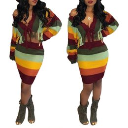 Fledermausrock online-Mode Farbblock Zweiteiler Kleid Sexy Frauen Schulterfrei Pullover Bodycon Rock Kleid S-XL
