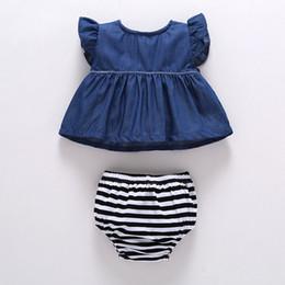 48e48057531 Hot baby girl bodysuit denim tops striped shorts outfits set summer sunsuit  0-24M infant girls denim dress+PP shorts 2pcs set clothes cute denim outfits  for ...