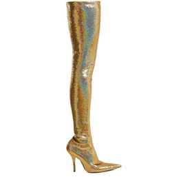 US4-11 Womens Pointed Toe Stilettos High Heel Over Knee Thigh High Boots  Slim Sexy Stretch Sequins Bling Gold Sliver Shiny Shoes 2f3ed956d6aa