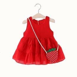 Wholesale Beach Bags Natural - Cute Baby Girl Dress with Strawberry Bag Sleeveless Vestido Infant Chiffon Ruffles Baby Girl Summer Clothes Beach Dresses