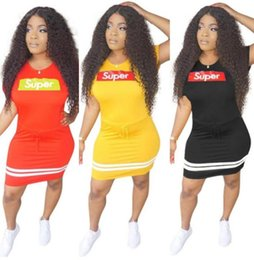 Wholesale girls hot nights dress - Super Summer Women Short Sleeve Mini Dress Drawstring Print Letter Trendy Sexy Night Club Skirts Stretchy Girl Designer Dress HOT