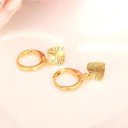 Wholesale Trendy Earrings For Girls - 24k Fine Yellow Gold GF Heart Earrings Women Girl,Love Trendy Sincere Jewelry for African Arab Middle Eastern gift