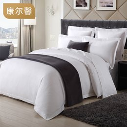 Wholesale Queen Suite - High Level Six Star Hotel Presidential Suite Bedding Set Four Pieces Egyptian Cotton 80s T330 White Soft Fabric Home Textile