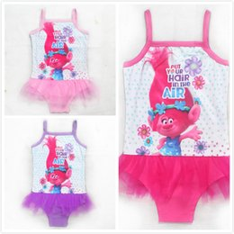 2019 film elves Trolls Girls Maillots De Bain Movie Print One Piece Tutu Jupe Maillots De Bain Été Rose Elf Magic Beach Enfants Maillots De Bain Maillot De Bain film elves pas cher