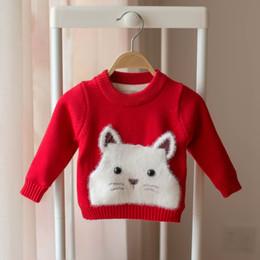 2019 gatinhos de camisola Camisolas meninas 2018 novo estilo inverno bebê gatinho dos desenhos animados além de veludo suéter grosso crianças meninas blusas tops Rosa Vermelha gatinhos de camisola barato