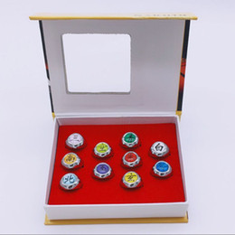 Wholesale naruto akatsuki rings - Hot Sale Japanese Anime Toys Naruto Cosplay Akatsuki Member Ring Uchiha Itachi10 Pcs  Set for Christmas Gifts Free Shipping