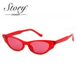 Wholesale Boy Stories - STORY Brand Cute Sexy Small Cat Eye Sunglasses Fashion Modern Purple Black Red Rivet Cat Eye Sun Glasses Red Shades 2018 UV400