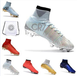 Wholesale outdoor boot box - Kids Mens Mercurial Superfly V FG CR7 Soccer Boots Football Shoes V Red Black Men Football Boots ACC Soccer Cleats With Bag Box
