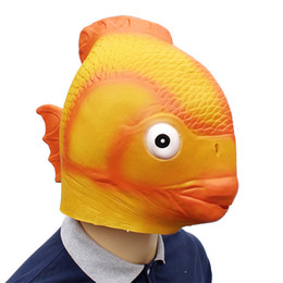 animal fancy dress accessories Coupons - New Style Halloween Overhead Funny Cosplay Accessories Fancy Yellow Fish Mask Dress Up Latex Mask for Party
