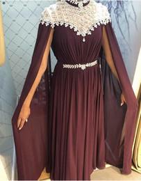 2019 robes de bal en diamant rouge Dubai Design Vin Rouge En Mousseline De Soie Robes De Bal Diamant Sans Manches Fil Châle Sexy Robes De Soirée 2018 promotion robes de bal en diamant rouge
