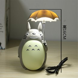 Wholesale Animal Night Lights Kids - Kawaii Cartoon My Neighbor Totoro Umbrella Lamp Led Night Light USB Reading Table Desk Lamps for Kids Gift Home Decor Novelty