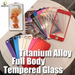 Iphone gehärtetes glasschirmschutz bunt online-Für iPhone 7 bunte ausgeglichenes Glas Front + Back 3D gebogene Titanlegierung Full Body Covered Screen Protector Film mit Retail-Verpackung