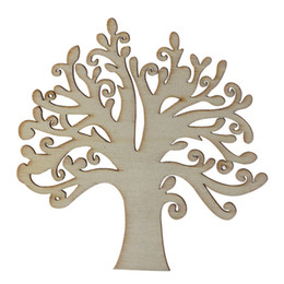 Wholesale door crafts - 5pcs lot Laser Cutting Family Tree Wooden Christmas Decor Crafts For Home Garden Out Door Party DIY Decorative Supplies