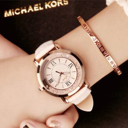 Wholesale Diamond Crystal Dress - Dropship Hot Luxury Brand Diamond Fashion Rhinestone Watch Leather Casual Dress Women's Quartz-watch Crystal Ladies Wristwatch