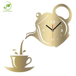 Wholesale Green Walls Kitchen - New Arrival Wall Clock Mirror Effect Coffee Cup Shape Decorative Kitchen Wall Clocks Living Room Home Decor Wandklok