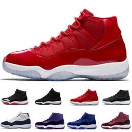 Wholesale Purple Athletic Shoes - 11s Gym Red Chicago Midnight Navy WIN LIKE 82 Bred Basketball Shoes 11s Space Jam Mens Sports Shoes Womens Trainers Cheap Athletics Sneakers