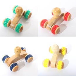 Wholesale Hand Massage Therapy - Wood Full-body Four Wheels Wooden Car Roller Relaxing Hand Massage Tool Reflexology Face Hand Foot Back Body Therapy HG