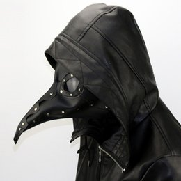 Cuero largo cosplay online-Gothic PU Leather Plague Doctor Máscara Steam Punk nariz larga pico Máscara Fiesta de Halloween Máscara Navidad Cosplay Props G221S