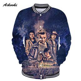 4603c4914b871 Aikooki 2018 3D Baseball Jacket Uniform Stranger Things 3D Capless Hoodies  Hip Hop Casual Coon Harajuku Sweatshirt Tops discount top breast women