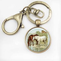 Wholesale Wearable Art - Horse Keychain Pendant Wearable Art Horse Jewelry Car Key Holder Key Holder Glass Cabochon Pendant Jewelry Christmas Gift