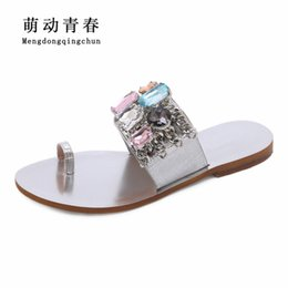 Women Flat Heels Shoes 2018 Fashion Flip Flops Flat Heels Shoes Gladiator  Slip On Crystal Rhinestone Summer Sandals Plus Size 43 silver crystal flat  sandals ... 8e62fc991050