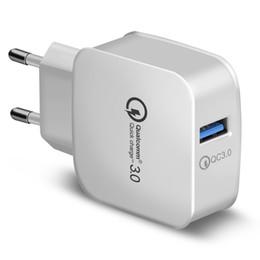 12-вольтовый адаптер usb Скидка QC 3.0 Зарядное устройство Qualcomm USB Быстрая Зарядка 5 В 3A 9 В 2A 12 В 1.5A Адаптер питания для путешествий Быстрая зарядка США ЕС Plug для iphone Samsung 200PCS /