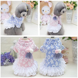 Wholesale Pink Wedding Colors - Sweet dog skirt dresses winter warm pet clothes Pet puppy Coat Jacket Outerwears clothing pet supplies 2 colors S XXL T-74
