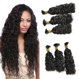 Wholesale dark brown wavy hair weft - 3 Bundles Water Wave Human Hair No Weft Natural Black Brazilian Wet and Wavy Human Hair Bulk for Braiding FDshine