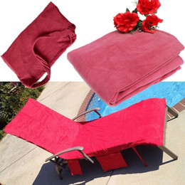 Wholesale Blanket Pockets - Lounger Chair Beach Towel Cover Microfiber Sunbath Lounge Bed Beach Towels with Pockets Holiday Garden Quick-dry Beach Towel Cover Blankets