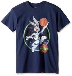 Wholesale Western Shirts Xl - Warner Brothers Men's Bugs Dunk Space Jam T-Shirt Summer Short Sleeves Cotton Fashion Shirt Men'S Fashion Black Cotton Western Style