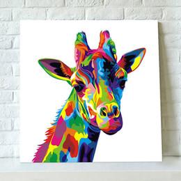 pinturas a óleo de girafa Desconto Arte Da Parede moderna Pintados À Mão Pintura A Óleo Animal na Lona Handmade Grande Colorido Girafa Acrílico Pinturas Pictures Pallete